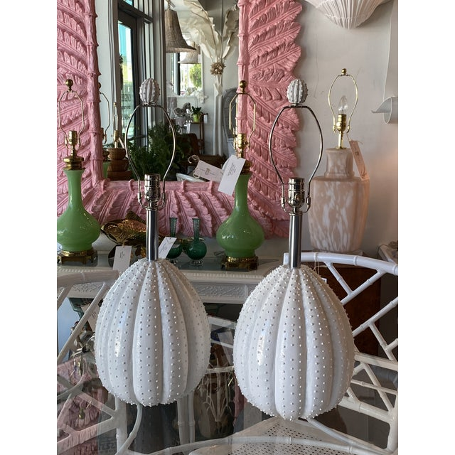 1980s Vintage White Sea Urchin Style Palm Beach Table Lamps Newly Restored -A Pair For Sale - Image 5 of 12