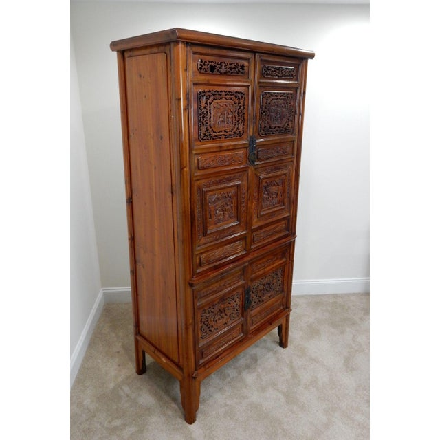 Late 19th Century Chinese Carved Teak Wood Cabinet For Sale - Image 5 of 12