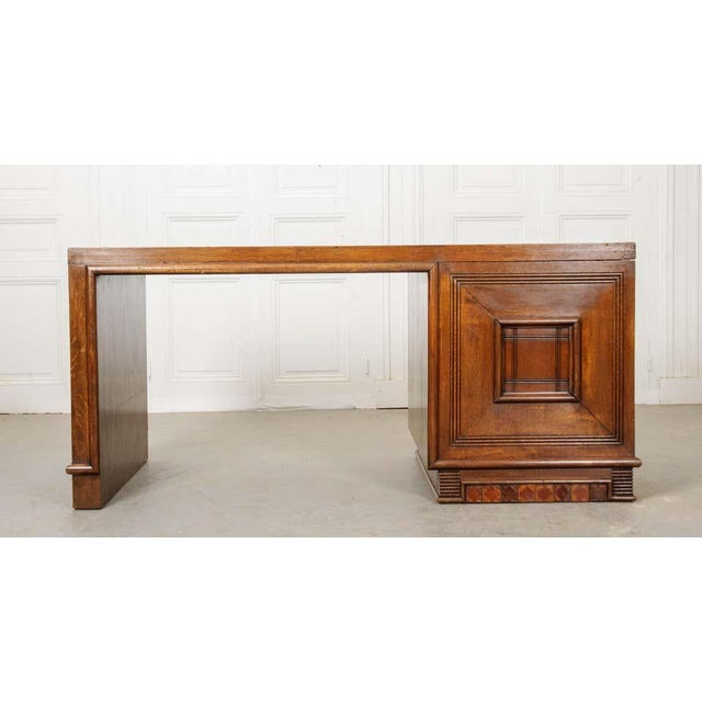 French 20th Century Oak Art Deco Parson Desk For Sale - Image 9 of 12