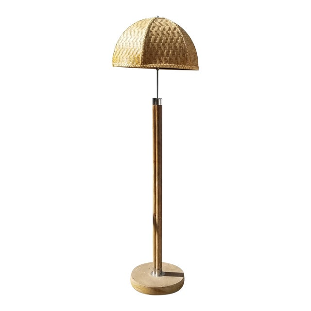 1970s Vintage Paul Frankl Style Rattan & Chrome Floor Lamp For Sale