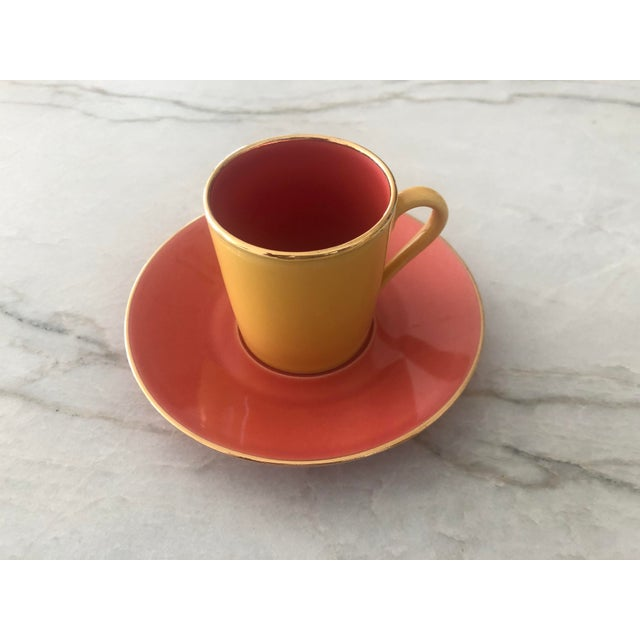 Porcelaine de Paris Multi-Colored Apilco Demitasse / Espresso Cups by Yves Deshoulieres, Made in France - Set of 12, 24 Pieces For Sale - Image 4 of 10