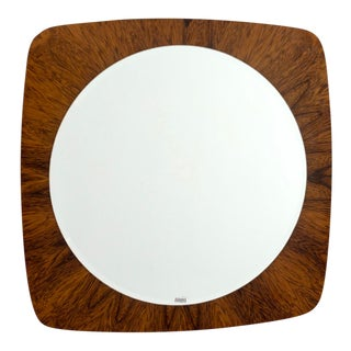 French Mid Century Round Wall Mirror With Teak Frame For Sale