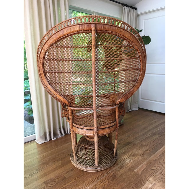 Caning Vintage Emmanuel Wicker Peacock Chair For Sale - Image 7 of 13