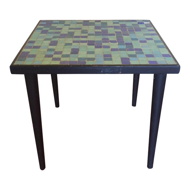 Mid-Century Modern Glass Mosaic Side Table For Sale