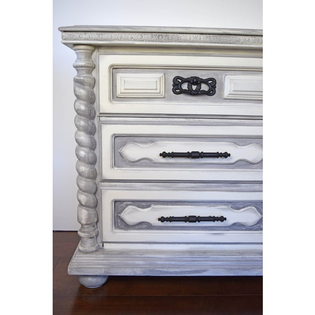Spanish Style White Wash Dresser For Sale - Image 4 of 11