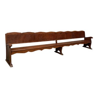 20th Century Monumental Church Walnut Bench For Sale