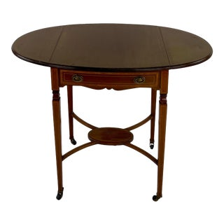 Mid 19th Century English Traditional Inlaid Pembroke Table For Sale