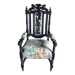 Antique 18-19 C. Water Buffalo/Lions Throne Chair