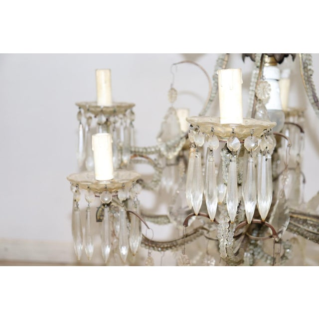 19th Century Italian Louis XVI Style Bronze and Crystals Swarovski Chandelier For Sale - Image 6 of 9