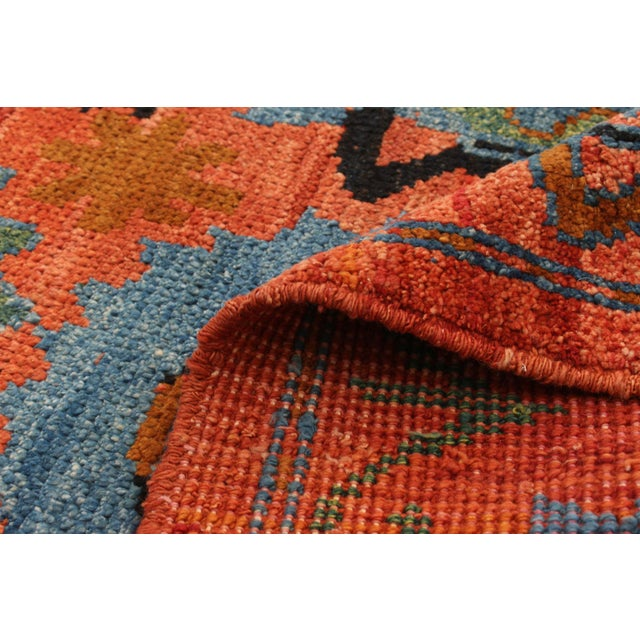Orange Boho Chic Hand-Knotted Rug For Sale - Image 8 of 9
