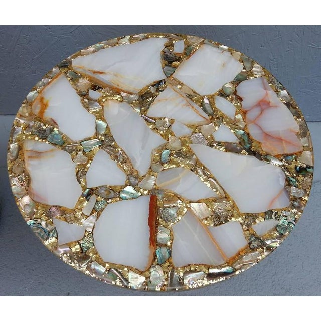 Art Deco Vintage Arturo Pani Hollywood Regency Agate & Gold Side - A Pair For Sale - Image 3 of 7