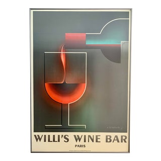 French Art Deco Advertising Lithograph Poster - Willi's Wine Bar - Adolphe Mouron Cassandre For Sale