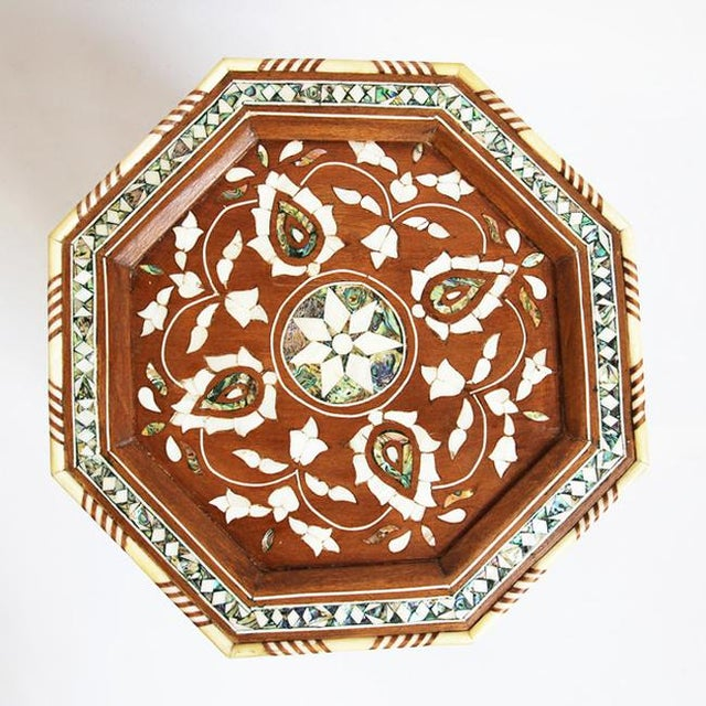 Moroccan Inlay Side Table For Sale - Image 4 of 5