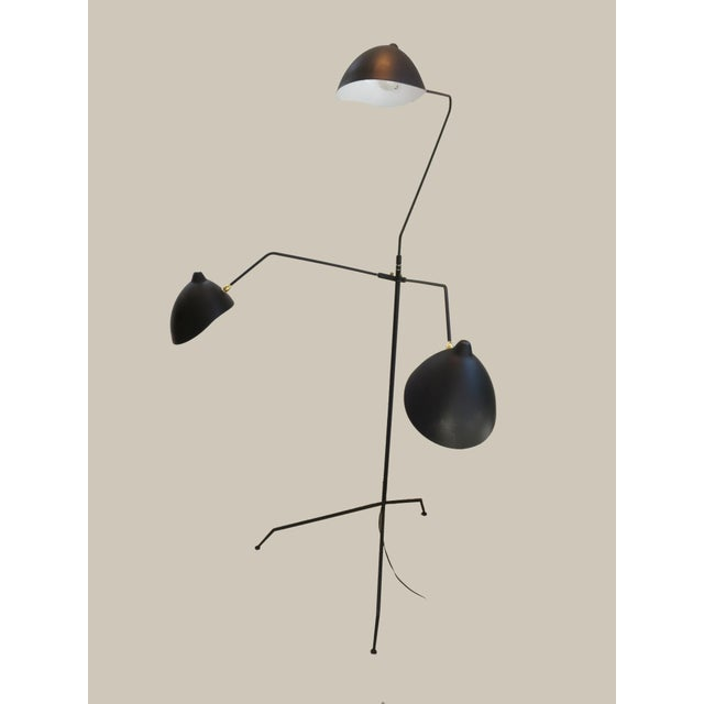 Black Standing Three-Arm Lamp by Serge Mouille For Sale - Image 8 of 8
