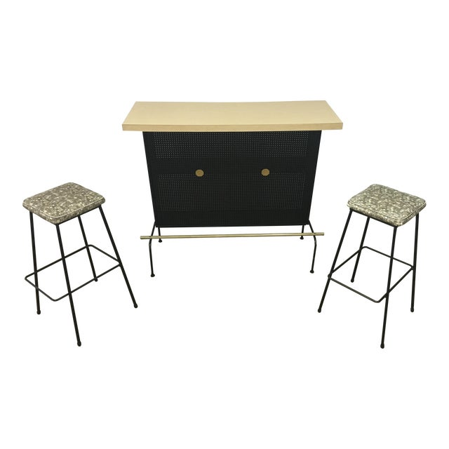 Atomic Vintage Bar With 2 Stools - Image 1 of 11