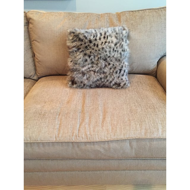 This animal print square decorative accent pillow is hand made of real fox fur sections. Stenciled to look like a spotted...