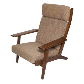 Vintage Hans Wegner Ge 290 Smoked Oak and Original Upholstery Char For Sale
