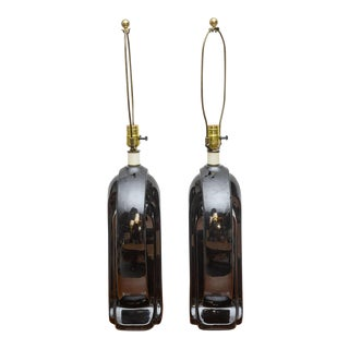 Ceramic and Lucite Lamps, Usa, 1950s - a Pair For Sale