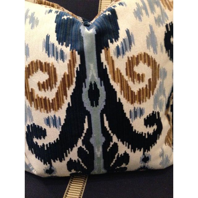 Cut Velvet Blue & Gold Pillows - a Pair - Image 3 of 4