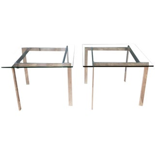 Pair of Milo Baughman for Thayer Coggin Polished Metal & Glass Side Tables For Sale