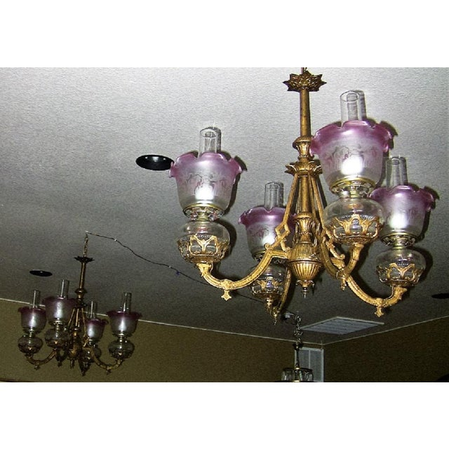 Gold Leaf 19c Pair of Bradley and Hubbard Gold Leaf 4 Arm Chandeliers For Sale - Image 7 of 13