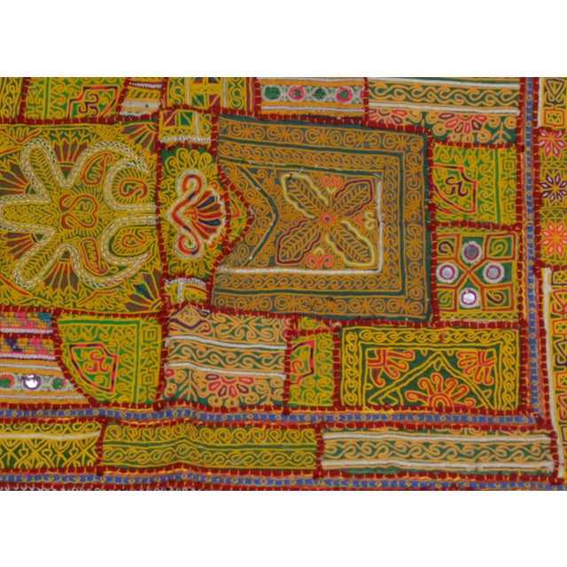 Tribal Yellow Tasseled Jaislmer Tapestry For Sale - Image 3 of 3