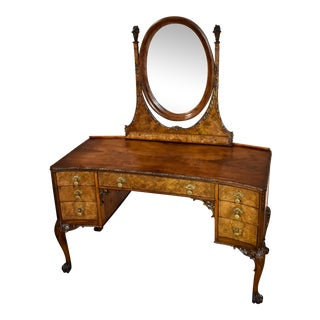 Antique English Edwardian Style Craved Walnut Vanity With Mirror For Sale