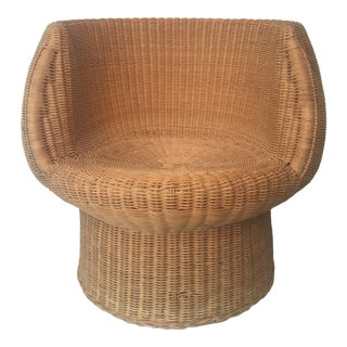 Vintage-Style Rattan Barrel Chair For Sale