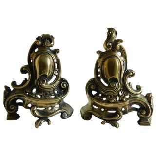 Pair of Brass Small Chenets or Andirons With Shield and Scrolls, 19th Century For Sale