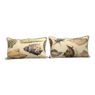 Specimen Sea Shell Design Decorative Lumbar Throw Pillows - a Pair For Sale