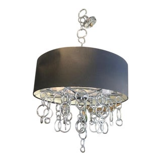 Mid Century Modern 8 Light Chandelier With Silver Rings Black Shade For Sale