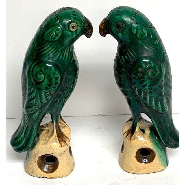 Pair of Chinese Export Porcelain Green Glazed Parrots For Sale - Image 4 of 12
