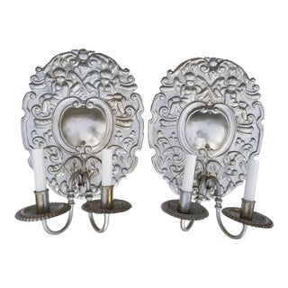 French Baroque Aluminum Putty Sconces - A Pair For Sale