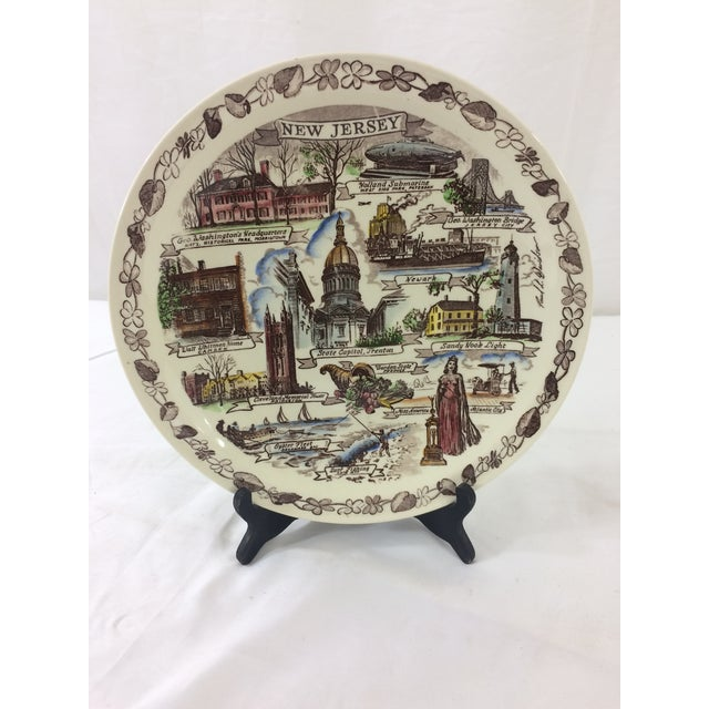 Vernon Kilns Vintage New Jersey Souvenir Plate For Sale - Image 4 of 4