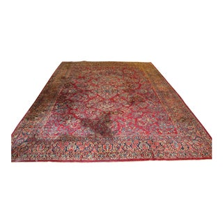 C.1920s Red Sarouk Room Sized Rug For Sale