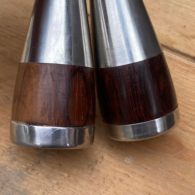 Vintage Danish Rosewood & Stainless Steel Salt & Pepper Shaker Set- a Pair For Sale - Image 10 of 13