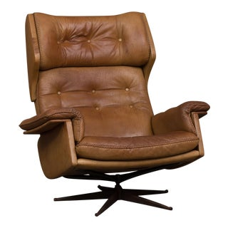 Arne Norell Buffalo Leather Lounge Chair For Sale