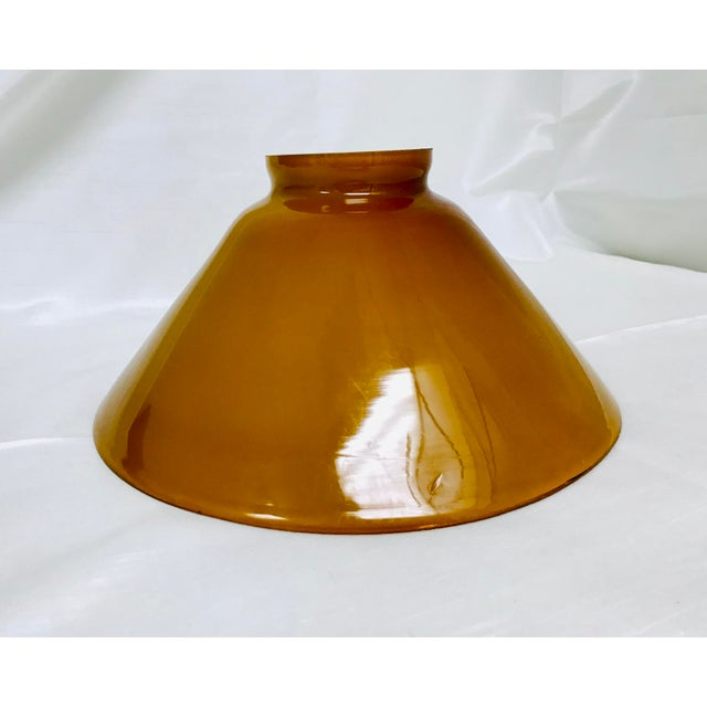 Vintage Butterscotch & White Cased Glass Industrial Pendant Shade For Sale - Image 4 of 8