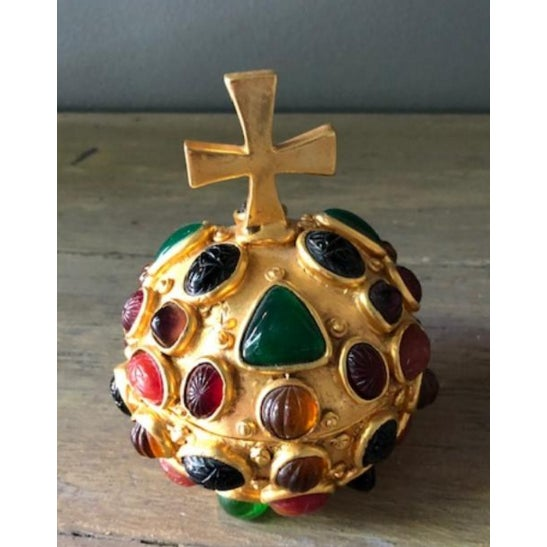 Gold Orb Box With Cabochon Jewels For Sale - Image 10 of 10