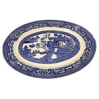 Homer Laughlin Blue & White Pagoda Platter For Sale