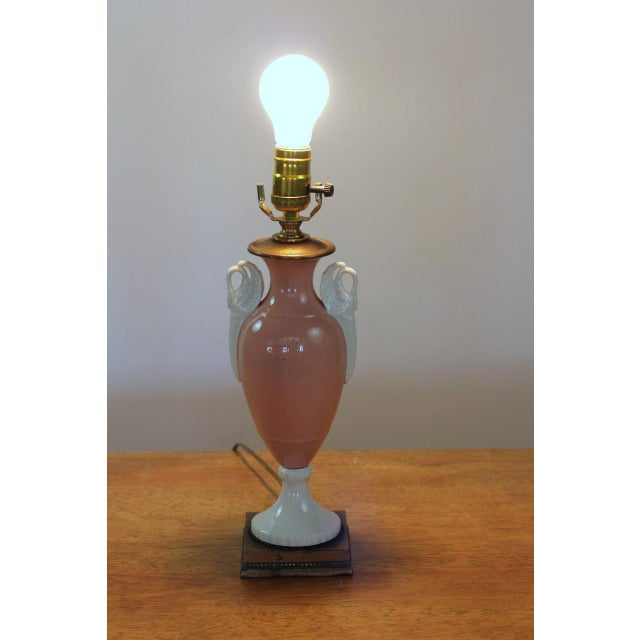 1940s Vintage French Pink Table Lamp With White Swan Handles Circa 1940's For Sale - Image 5 of 7