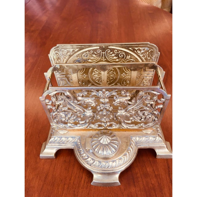 Metal Antique Brass Letter Holder With Inkwell For Sale - Image 7 of 7