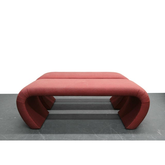 Hollywood Regency Pair of 5ft Waterfall Benches in the Manner of Karl Springer For Sale - Image 3 of 6