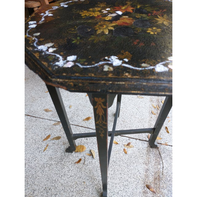 Wood Antique Paper Mache Table With Inlay Mother of Pearl For Sale - Image 7 of 10