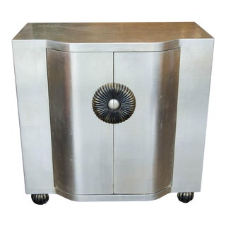 Deco Style Silver Leaf Cabinet For Sale