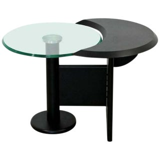Contemporary Modern Cassina Black Metal Chrome & Glass Side Table 1970s Italy For Sale