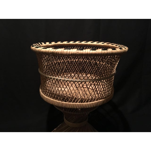 Brown Rattan Wicker Plant Stand For Sale - Image 8 of 9