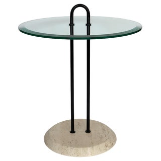 Vico Magistretti Travertine and Glass Side Table for Cattelan Italia For Sale