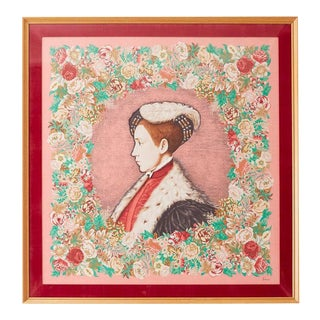 Framed Kenzo Takada Silk Mille-Fleur Painted Scarf For Sale