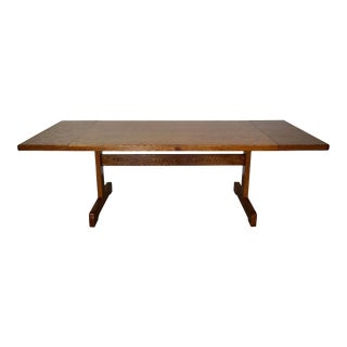 1970's Oak Trestle Dining Table W/ Leaves For Sale